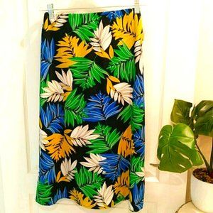 Loveappella Tropical A-Line Midi Skirt Size M